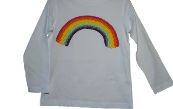 Langarmshirt regenbogen weiß